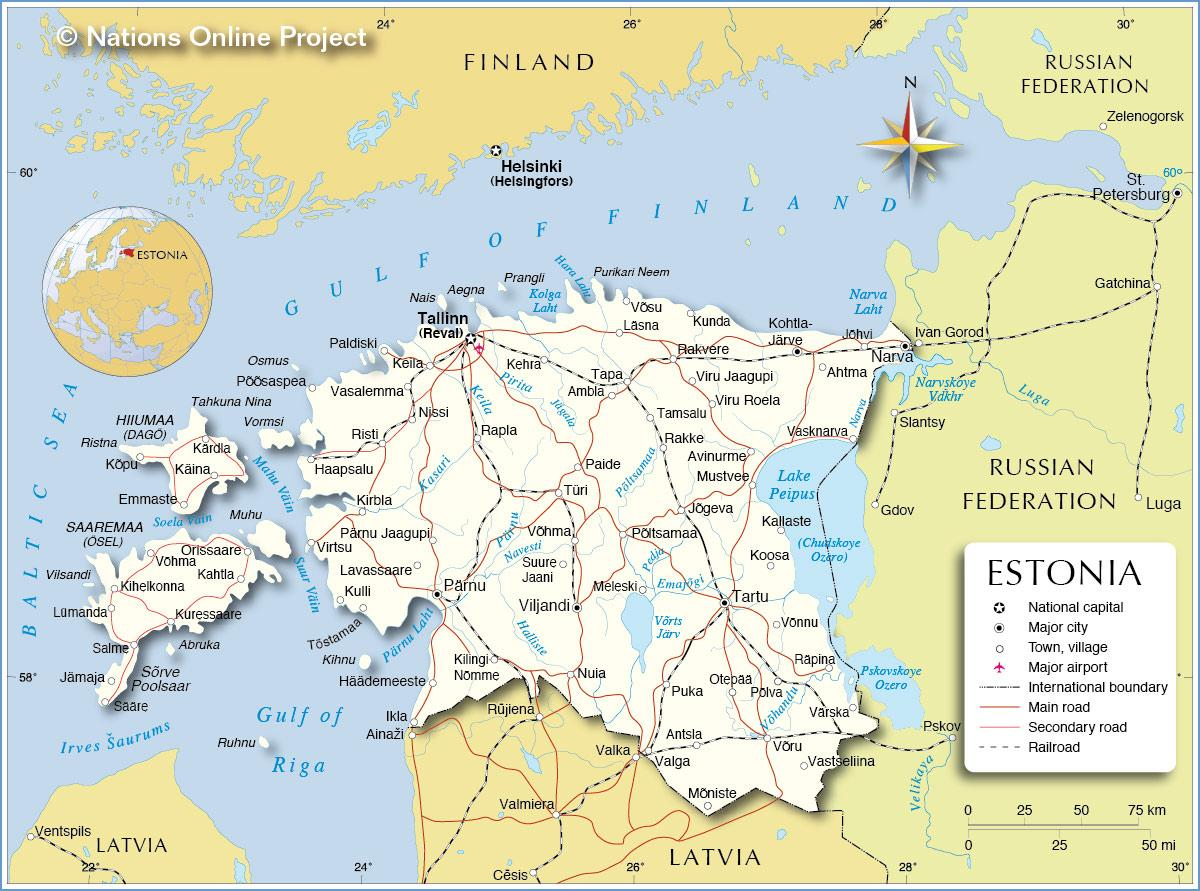 Estonsko Mapa Mesta Mapa Estonska City Severni Evropa Evropa